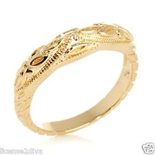 18K YELLOW GOLD OVER STERLING SILVER ANTIQUE REPRODUCTION RING! SIZE 6! NEW!