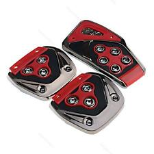 Universal Red Black #O Car Manual Brake Gas Clutch Racing Pedal Pads Cover Set