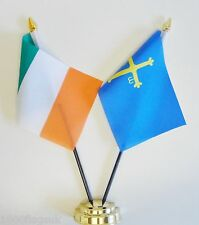 Ireland & Spain Asturias Double Friendship Table Flag Set