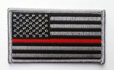 FIREFIGHTER RED LINE FLAG EMROIDERED 3.5 INCH FLAG PATCH