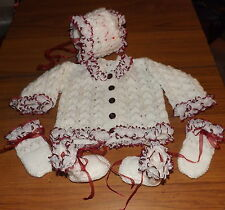 Hand knitted White & Burgundy outfit to fit 3-6months baby or reborn doll NWOT