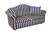 DOLLS HOUSE 1/12 SCALE BLUE AND WHITE STRIPED SOFA