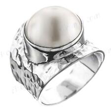 GORGEOUS WHITE MABE PEARL HAMMERED 925 STERLING SILVER SZ 7 ring