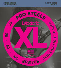 D'ADDARIO EPS170S PROSTEELS BASS STRINGS, SHORT SCALE, LIGHT GAUGE 4's - 45-100