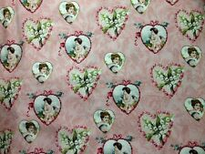 NEW!  Vintage Valentine Hearts on Rose Pink Cotton Fabric ~ by the HALF YARD
