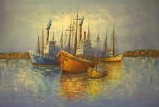 Large Hand Painted Oil Painting on Canvas Abstract Boats / Ship On The Sea