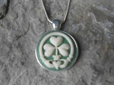 IRISH CLADDAGH FOUR LEAF CLOVER SHAMROCK CAMEO NECKLACE - ST. PATRICK'S DAY -GR1