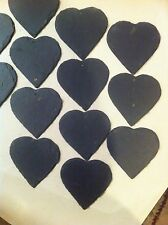 20 Slate Heart Wedding Favours Hanging Name Tag Label Place Xmass Markers 50 Mm