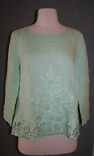 J.CREW EMBROIDERED LINEN TOP SIZE 2 SWEET SPEARMINT