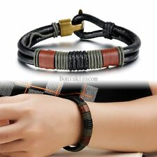 Men's Black 2 Strand Strap Leather Cord Surfer Bracelet Wristband w Clasp 8.6""