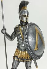 "14"" SPARTAN GREEK WARRIOR Statue HOPLITE SHIELD SPEAR Pewter Finsh Art Sculpture"