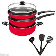 Stone Ceramic Cookware Pan Set (Red)