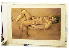 Large Male Nude in oil on gessoed jute by Hugo Ferreira