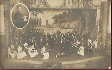 Real Photo Postcard rppc Orchestra On Stage~Inset Photo Violinist Music Musician