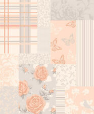 Coloroll Pollyanna Rose Gold Patchwork Floral Feature Wallpaper M1111