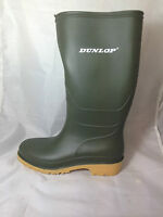 ladies GREEN DUNLOP WELLINGTON BOOTS CREAM SOLE WATERPROOF GARDENING WELLIES