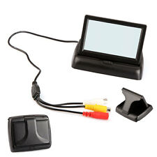 "Fold 4.3"" LCD Display Monitor Car Reverse Rear View Backup Camera Black US"