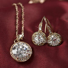 18k gold gp made with SWAROVSKI crystal earrings pendant necklace set