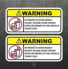 Funny No Food Drink Warning Sticker Set Vinyl Decal JDM Decal Car Fits Mazda BMW
