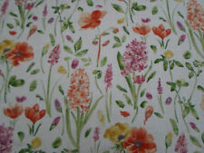 Sanderson Curtain Fabric ~ 'Spring Flowers' Wine/Paprika 5.5 METRES Linen Blend