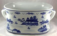"""Full Size 18"""" Blue Willow Pattern Porcelain Ironstone Hand Painted Foot Bath Tub"""