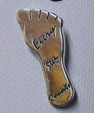 Every Step Counts Lapel Pin Relay for Life Awareness Foot Silver Plated Tac New