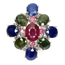 JUMBO RARE! REAL BLUE SAPPHIRE DIFFUSION,GREEN SAPPHIRE,RUBY 925 SILVER RING 7.5