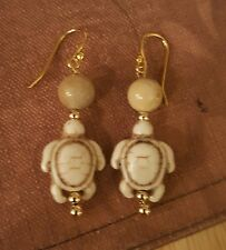 WHITE TURTLE HOWLITE EARRINGS with jasper, 14k gold filled ear wires & beads