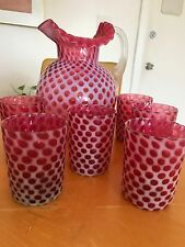 fenton cranberry polka dot glass water jug and cups