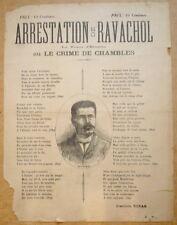 Affiche. Arrestation de Ravachol. Joannès Tobas. Vers 1892. Anarchisme
