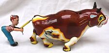 Vintage Mikuni Japan Roaring Bull Pulling Boy Tin Litho Mechanical Wind Up Toy