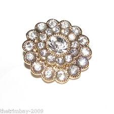 Oro Cristal Transparente Diamante Botones 22 Mm Para, Boda, Novia, Disfraz, Artesanales