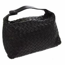 BOTTEGA VENETA BLACK WOVEN INTRECCIATO LEATHER CLUTCH BAG PURSE