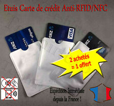 Protection carte bancaire sans contact bleu visa RFID NFC étui ANTI-PIRATAGE