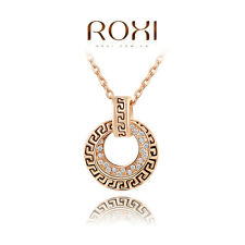 Fashion Round Pendant Austrian Crystal 18K Rose Gold Necklace Costume Jewelry