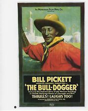 """2003 Vintage COWBOY """"THE BULL DOGGER"""" PICKETT MINI POSTER Art Plate Lithograph"""