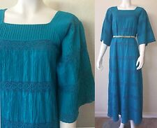 Vtg 70s Blue Mexican BELL SLEEVE Pintuck Pleat Crochet LACE Maxi Dress Wedding M