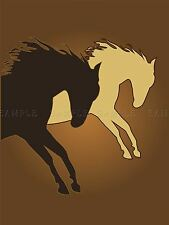 PAINTING ANIMAL HORSE CREAM BEIGE BROWN OUTLINE POSTER PRINT BMP10322