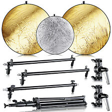 Neewer Collapsible Gold/Silver Panel Reflector Kit with Light Stand for Studio