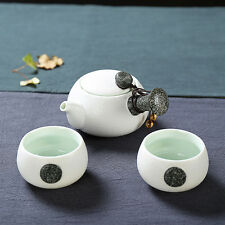 Ceramic Chinese Gongfu Tea Side Handle Teapot & Teacups Mini Travel Set 3 Pcs