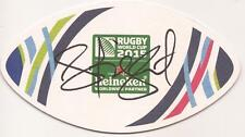 AUSTRALIA RUGBY: HENRY SPEIGHT SIGNED WORLD CUP 2015 BEER MAT+COA *WALLABIES*