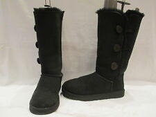 AUTHENTIC UGG AUSTRALIA BLACK SUEDE BAILEY BUTTON MID BOOTS UK 8.5 EU 41 (689)