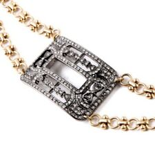 CLEAR WHITE CRYSTAL RHINESTONE SILVER & GOLD Art Deco Buckle Cuff Chain Bracelet