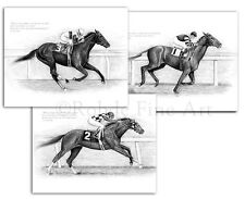 BIG 3 HORSE RACING ART SET - Secretariat Man o' War Ruffian - signed Rohde NICE