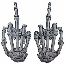 White Skeleton Hand Middle Finger Kreepsville Embroidered Iron On Applique Patch