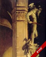 PERSEUS MEDUSA STATUE AT NIGHT FLORENCE ITALY OIL PAINTING ART REAL CANVAS PRINT