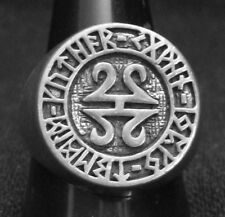 Stainless Celtic Runes Ring Custom Size Runic alphabet Old Norse Viking R-83 ss