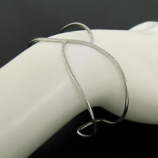 NEW 14K White Gold 0.35ctw Fine Micro Pave Round Diamond Open Wave Cuff Bracelet