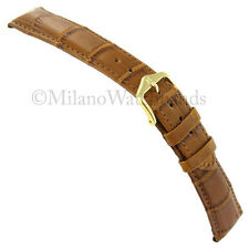 20mm Hirsch Genuine Alligator Semi Matte Tan Brown Padded Stitched Watch Band