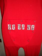 Victorias Secret Pink NWT XS Onesie Thermal Red Bling Glitter Rare Christmas Ho